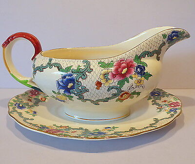 Vintage Royal Cauldon Victoria Gravy or Sauce Boat with Undersaucer