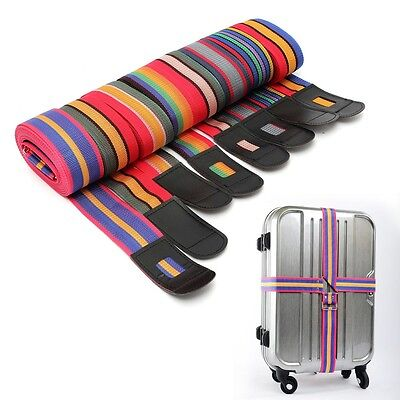 Adjustable Luggage Suitcase Cross Strap Travel Baggage Storage Bag Belt LOCK