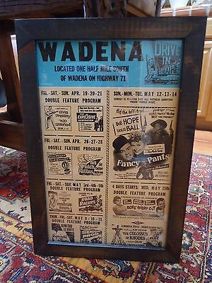 Vintage 1962 OUTDOOR MOVIE THEATER ADVERTISING POSTER / FRAMED / LOTS of STARS!