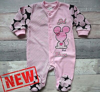 "**NEW** Baby Girls ""SWEET LITTLE MOUSE"" Sleepsuit/Playsuit/ Babygrow 100% Cotton"