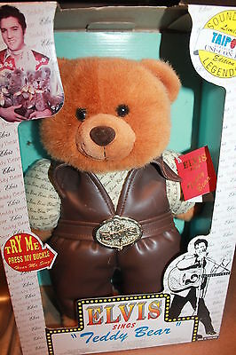 "NIB VTG 1994 ELVIS PRESLEY SINGING 15"" teddy bear - Sings Teddy Bear"