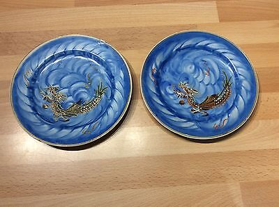 Pair Matching Japanese (or Chinese) Hand-Painted Dragon Plates