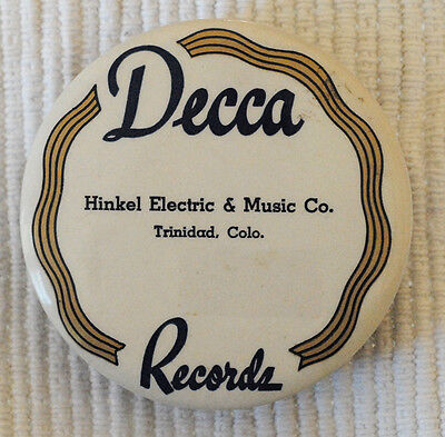 "Old Decca Records 3.5"" Felt Record Cleaning Pad with Label & Record Store Name"