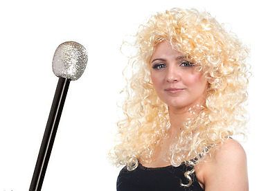 70's Instant Kit Long Curly Blonde Wig & Sliver Microphone Disco Fancy Dress
