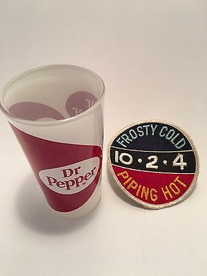 Dr Pepper Vtg Drinking Glass & Frosty Cold 10-2-4 Piping Hot Advert. Pop Patch
