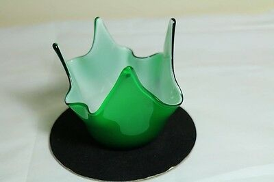 Beautiful Green and white Blowen Glass Abstract Trinket Dish Enesco  Made in Jap