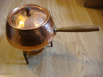 Vintage SOLID Copper Fondue Pot And Stand wood handle