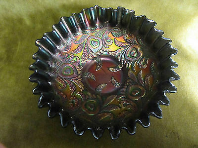 Carnival glass bowl antique iridescent leaves & flowers