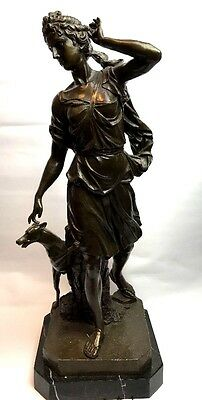 Stunning 25inch large french bronze lady & hound statue signed moreau