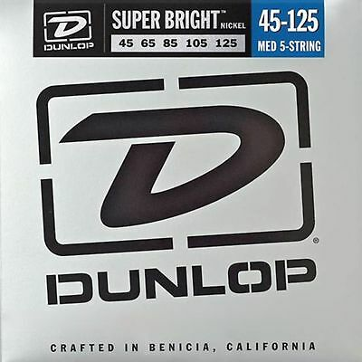 Dunlop Super Bright Nickel Plated Steel Bass 5 String Set, ..45-.125