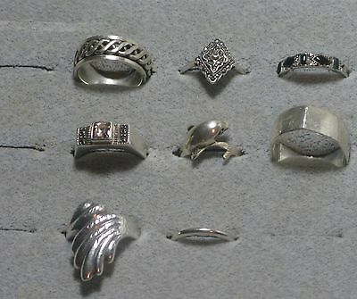 .925 sterling silver rings lot of 8 varied styles all marked 925 not scrap