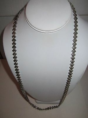 "Silver Plated Necklace -Rugged Links - Heavy - 30""l - 95 Grams - Tk-3D"