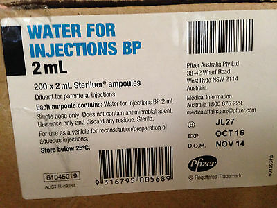 Pfizer 10 x 2 ml Sterile Ampoules Water BP  •  Free Post