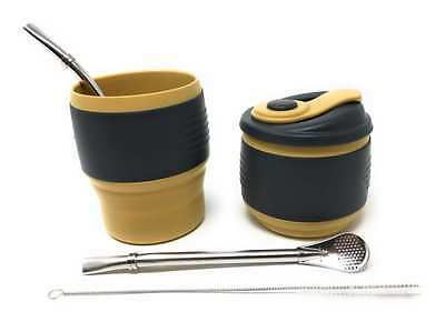 Yerba Mate Expandable Silicone Gourd and (2) Stainless Steel Bombilla Straw