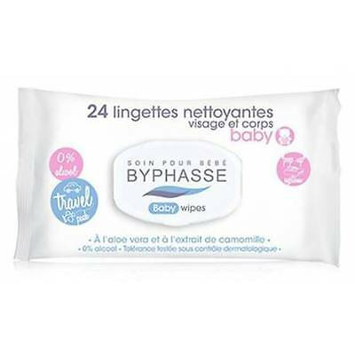 BYPHASSE - Lingettes Nettoyantes - Visage & Corps Baby - Pack Voyage - X24