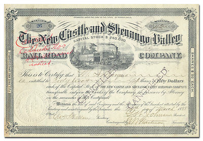 New Castle and Shenango Valley Rail Road Stock Certificate (1888)