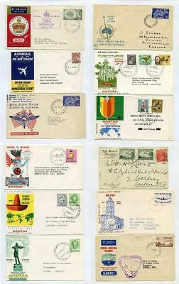 Australia Airmail Covers Qantas First Flights, Flying Doctor, Coronation, Cocos