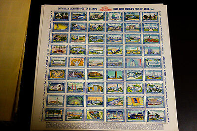 US Stamps 1939 Worlds Fair Sheet complete with 54 Stamps mint and fresh! Folded.