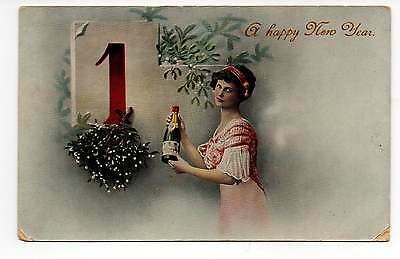 A Happy New Year, Beautiful Young Woman, Vintage Postcard Jan