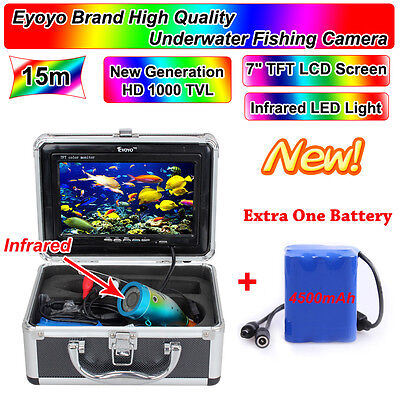 "15m Infrared Light 7"" LCD Ice/Sea Fish Finder Underwater Camera 1000TVL+Battery"