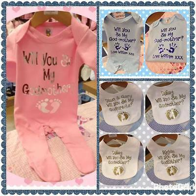 christening bib grow GOD PARENTS will you be my god mummy / daddy personalised