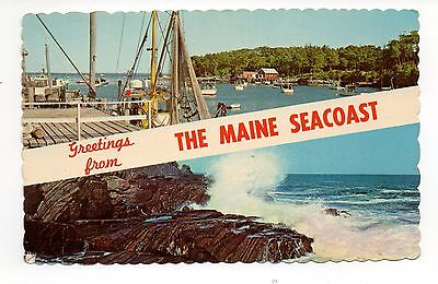 Greetings From The Maine Seacoast, Vintage Postcard, Mar
