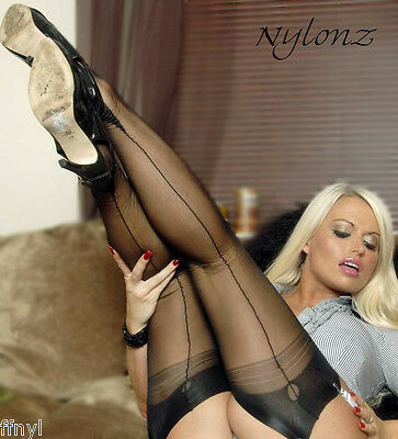 Eleganti Fully Fashioned Stockings - BARELY BLACK Point imperfects - All Sizes