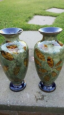 exquisite pair royal doulton vases c1905 trailing leaves pattern ex condition
