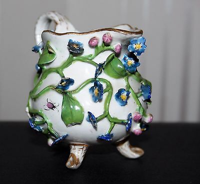 Antique Meissen Flower Encrusted Jug , Blue & Pink Flowers Insects 1880 Rare