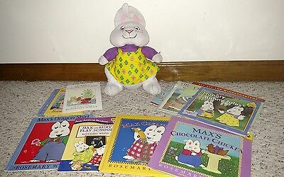 max and ruby books( rosemary wells) and ruby plush lot- Easter basket gift