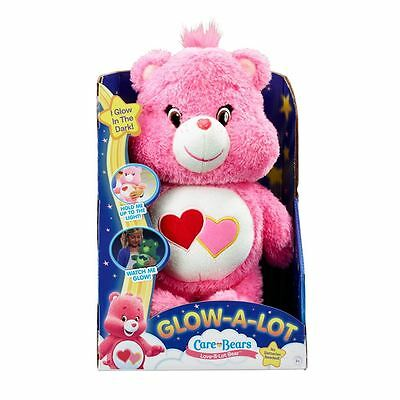 NEW Care Bears Glow-a-Lot in the dark Plush Pink / Blue Bear Boxed 26cm Bedtime