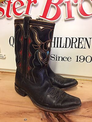 VINTAGE children's/small Woman's ACME western Boots With Bull Cutout Leather
