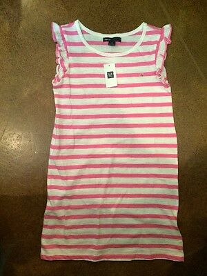 NWT Girls Gap Size S (6-7) Pink And White Striped Dress