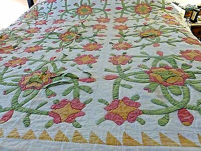 Beautiful Antique Handmade applique`quilt very oldand very worn