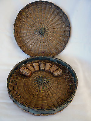 Wonderful PENOBSCOT Native American Sweet Grass Sewing & 7 Thimble Baskets MAINE