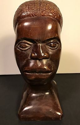 Hand Carved Wooden African Bust/Head