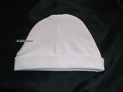 BABY'S WHITE COTTON HAT  0-3 months  unisex boy girl soft plain beanie cap