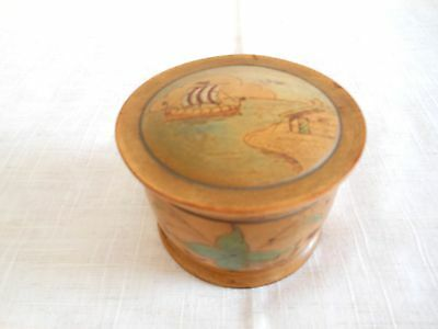 Antique Round Hand Turned Wood Hand Decorated Norwegian Trinket Box with Lid