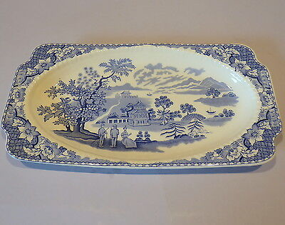 Vintage Woods 'Seaforth' Blue and White Transfer Ware Sandwich Tray