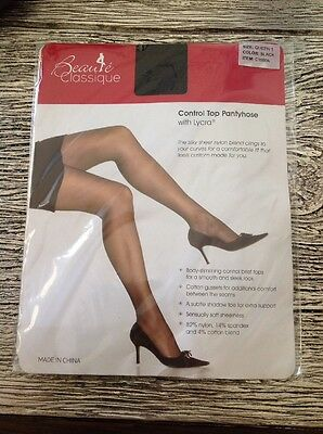 Beaute' Classique Size Queen 1 ~ Black ~ New Factory Sealed Package Control Top