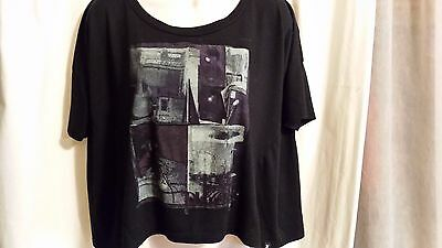 Hurley Women's Crop Short Sleeve T Shirt Black Size S Loose Fit