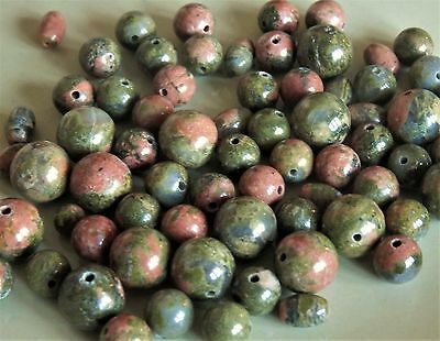 100+. Unakite natural gemstone 6mm and 8mm round beads and 6mm barrels