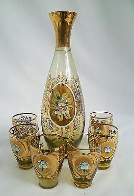 1950s Gilded Carafe and Glasses Set