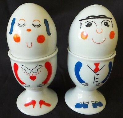 Collectable His & Hers Egg Cups Plus Salt & Pepper Shakers