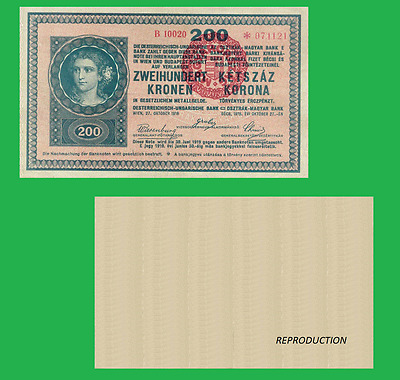 Hungary 200 korona 1918 1920 with red seal. UNC - Reproduction