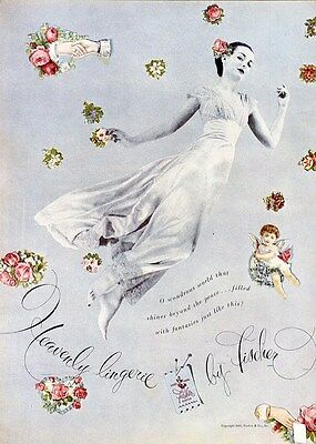 Silk Lingerie by FISCHER Old Ad 1945 Nightgown Cherubs and Flowers Advertisement