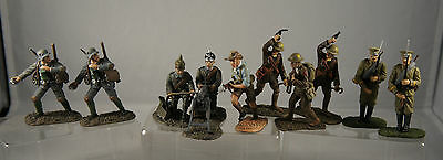 WW1 Quality Lead Painted Metal Soldiers - Set Of Ten