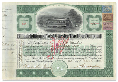 Philadelphia and West Chester Traction Company Stock Certificate