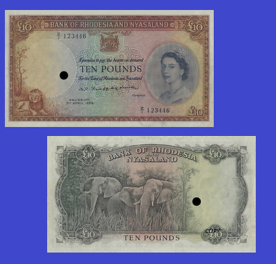 Rhodesia and Nyasaland 10 POUNDS 1956. UNC - Reproduction