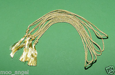 10 x tassels for crafts, order of service, invitations booklets bright gold 10""